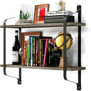 WACO Floating Shelves, 2-Tier Wall Mounted Industrial Wood Wall Shelves for Pantry Living Room Bedroom Kitchen Entryway Book Shelf Vintage