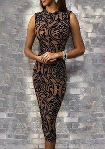 2019 New arrival o neck sleeveless summer sexy print slim Womens Bandage Bodycon Evening Party Club Short Mini Dress