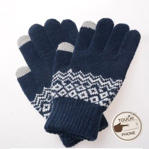 Luxury-Sparsil Men Women Touch Screen Winter Warm Elastic Mittens 5 Thick Full Finger Gloves Wave Crochet Wool Knit Glove