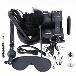13PCS Set Stimulate Bondage Restraints leather Plush BDSM Sex Handcuffs Whip Metal Anal Plug Erotic Sex Toys For Couples Adults Y201118