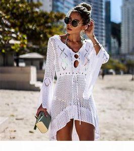 Sexy Cover Up Bikini Women Swimsuit Cover-up Beach Bathing Suit Beach Wear Knitting Swimwear Mesh Beach Dress Tunic Robe