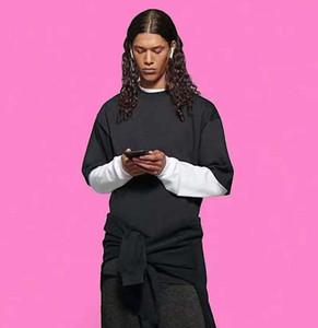 Fransa Son Bahar Yaz İpek Şerit Baskı Tee T Gömlek Moda Hoodies Erkek Kadın Rahat Pamuk T-Shirt