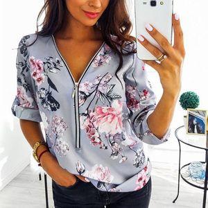 Женщины Цветок Печатная Блузка Сексуальная V Шея На молнии Топы 2021 Весна Лето Мода Регулируемый Длинный Рукав Винтаж Плюс Размер Рубашка