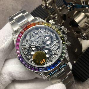 N9 Top Versão 116588 TBR Full Diamond Dial Color Diamond Bezel coma7750 Movimento Mecânico Automático Mens Relógio de Aço Designer Relógios