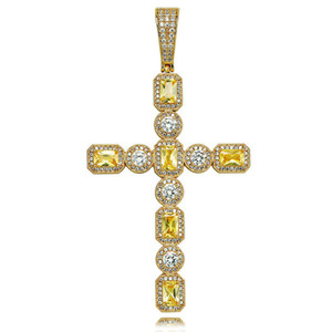 New Iced Out Two Tone Cross Pendant Necklace Gold Silver Plated Micro Paved Cubic Zircon Bling Jesus Jewelry