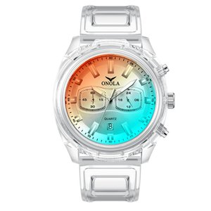 WholeWatches Internet Hot Onola Moda Tendencia Nueva Plástico Estudiante Mujer Reloj Mens Mens Impermeable Cinta Reloj de Cuarzo Relojes de pulsera