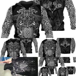 Tessffel Unisexe Vikings Tatouage Viking Warriors Newfashion Harajuku Menwomen HiPhop 3DPrint Zipper / Sweatshirts / Sweats à capuche / Veste S-5 Q1222