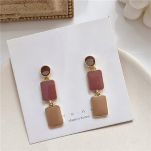 simple retro geometry square S925 silver needle bump color French retro earrings port-girl color earrings drop oil earrings
