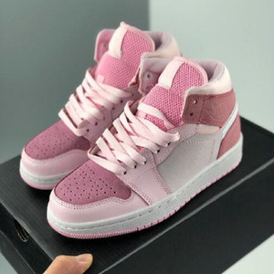 2021 Новые дешевые 1 середины цифровых розовых женщин баскетбольные туфли девушки спортивные кроссовки кроссовки корзины 1s des chaussures Zapatos размер 36-40
