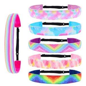 Gradient Tie-Dye Ribbon Headband Women Girls Kids Rainbow Hair Band Warps Casual Sports Skidproof Headwrap Headwear Accessories sale E120409