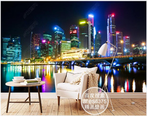 3d wallpaper custom photo mural City night view neon lights bridge high-rise buildings living room 3d wall murals wallpaper for walls 3 d