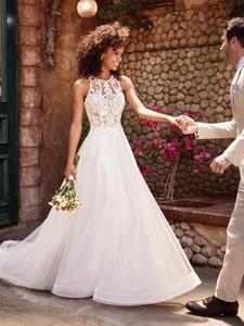 2021 Stylish A Line Lace Wedding Dresses Jewel Neck Bridal Gowns Plus Size Sweep Train Tulle robe de mariée