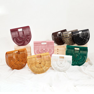 Pink Sugao bamboo strips bags straw woven bags beach holiday leisure handbag bamboo woven basket bags Semi-round package woven
