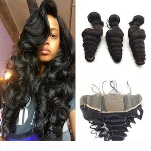 Малайзийская свободная волна волос с шелковыми базовыми фронтальными фронтами 4 шт. Лот Free Parting Silk Top Full Lace Frontal 13x4 с волосами ткани
