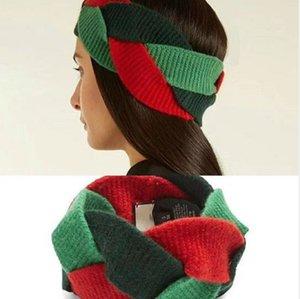 Sıcak Satış En Kaliteli Yün Bantlar Kırmızı Yeşil Çapraz Büküm Hairbands Kadınlar Için Etiketleri Ile Moda Marka Takı Marka Bantlar