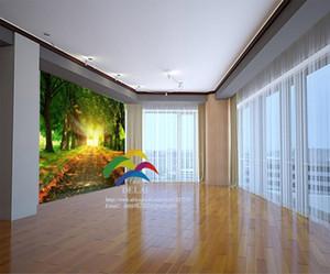خلفيات غابة جدارية جدارية شجرة خضراء نمط وودز خلفيات لفة الحديثة تصميم بسيط أسود ورقة بيضاء لغرفة المعيشة