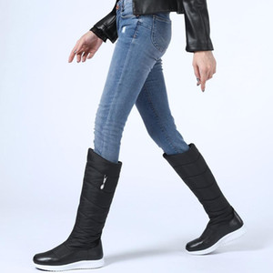 winter shoes warm plush down+cow leather knee high boots woman comfy flat snow boots platform woman long casual shoes boot