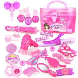 24-32PCS Pretend Play Kid Make Up Toys Pink Makeup Set Princess Hairdressing Simulation Plastic Toy For Girls Dressing Cosmetic T200712