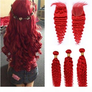 Deep Wave Red Colored Peruvian Human Hair 4x4 Lace Top Closure with Weaves 3Bundles Bright Red Deep Wavy Human Hair Wefts with Closure
