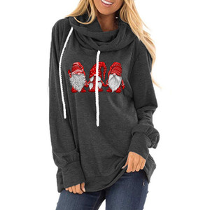 Carney Hot Sale Best Selling Womens Clothes Drawstring Hoodie Santa Claus Pattern Printed Loose round Neck Long Sleeve T-shirt