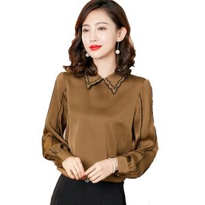 100% Silk Women's Shirt Embroidery Peterpan Collar Long Sleeves Elegant Casual Blouse Camisa Tops