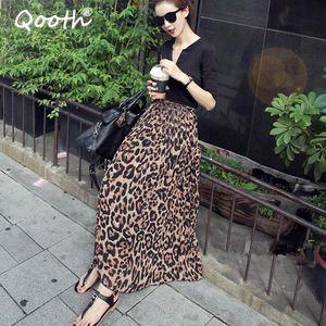 Qooth verano otoño mujeres larga leopardo falda elástica cintura gasa flujo plisado ocasional Maxi Beach Falda impresa DF650 J0118