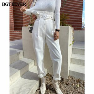 BGTEEVER Vintage Loose Women Corduroy Pants 2020 Autumn High Waist Belted Single-breasted Casual Trousers Female Harem Pants F1215