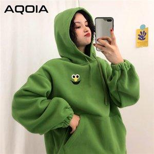 Aqoia sonbahar karikatür gevşek kadın hoodies kazak cepler büyük boy işlemeli tişörtü kadınlar 2019 kış giyim