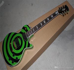 Free shipping Factory Price selling 6 Strings EMG pick-up G-LP Zakk Wylde Bullseye Green & black Circle Electric Guitar