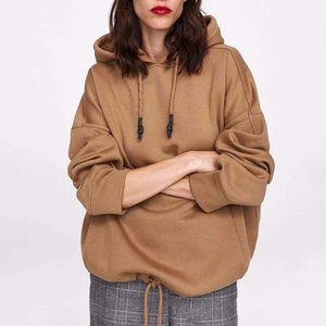 Yocalor Mulheres Harajuku Algodão Hoodies Sólidos Pockets Pockets Regular Sweetshirt Plus Size tops Hoodies Y200706