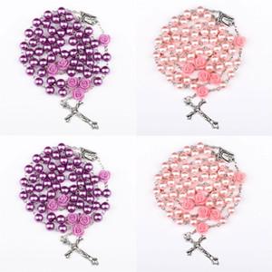 Perle di perle simulate religiose perline viola rosa cattolico collana rosario collana lunga collane Gesù gioielli 8 N2