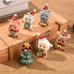 Resina mini figurine natale santa claus in resina giocattoli di yoys fai da te giardino ornamento artigianato bambini giocattoli regali all'ingrosso DHA2816