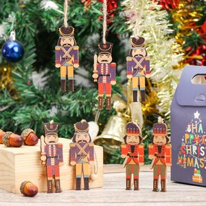 9 12PCS Nutcracker Puppet Christmas Tree Snowman Elk Wooden Pendants Walnut Soldier Christmas Xmas Tree Decor Hanging Ornaments