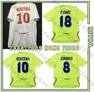 Olympique Lyonnais 2008 2009 الرجعية لكرة القدم جيرسي البنزيما Juninho Ederson Pjanic خمر كرة القدم قميص كلاسيكي