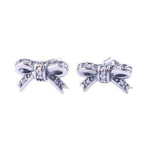Cute small Bow Stud Earrings Original Box sets for Pandora 925 Sterling Silver Women Girls CZ Diamond Gift Earring