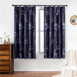 Green Leaves Curtains for Living Room Plant Printed Children Curtain for Bedroom Home Decor Curtain Drapes Panel Star Moon