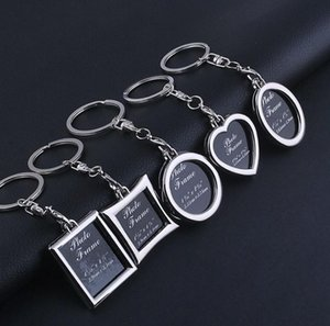 Mini Photo Frame Round Heart Apple Oval Rhombus Shape Metal Alloy Keychain Car Keychains Couples Keyring Gifts SN1707