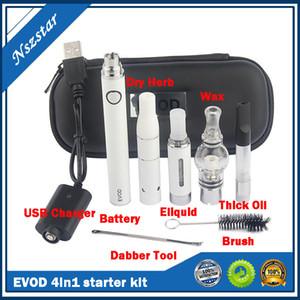 Evod 4 в 1 Переменное напряжение Vaporizador Pen Starter Наборы для сухого травы Воск DAB Толстое масло Эго UGO 4in1 Предварительно нагревать VV Комплекты