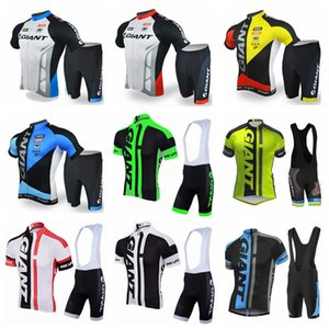 GIANT high quality Short sleeve cycling jersey bib shorts Pro race tight fit bicycle clothing set with gel pad FACTORY direct sale Y052718