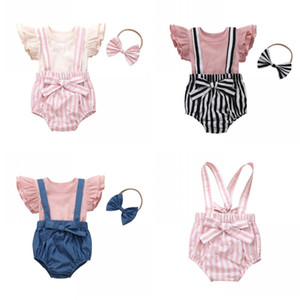 Baby Girls Roupas Kids Solid Camiseta Suspender Shorts Bowknot Headband Conjuntos De Roupas De Verão Sleeve Top Striped Hairband Suit 338 K2