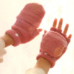 Damen Clamshell Handschuhe Winter Koreanische Nette Multifunktionale Halbfingerhandschuhe Coral Fleece Halbfinger warm