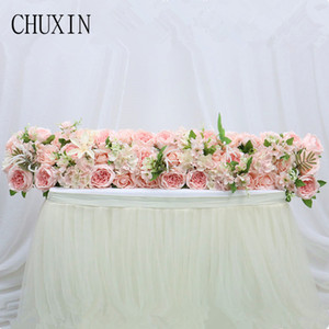 Flower Runner Artificial Flower Row Wedding Decoration Road Lead Dining Table Romantic Chrismas Decor Rose Poney Flower Z1120