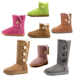 2021 Новый дизайнер Classic WGG ROOL BAILELY BOW Высокая кнопка триплет Австралия Женская женская ботинка зимние снежные ботинки меховой пушистый австралийский T2CY #