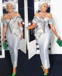 Elegant Aso Ebi African Sliver 2021 Mother of the Bride Groom Dresses Ankle Length Off Shoulder Lace Applique Bows Evening Formal Dress