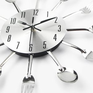 Cutlery Metal Kitchen Wall Clock Spoon Fork Creative Quartz Wall Mounted Clocks Modern Design Decorative Horloge Murale Hot Sale Y1121