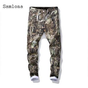 Samlona 2021 New Western Style Men Jeans Demin Pants Slim Bottom Classic Fashion Denim Pantaloni Pantaloni Snakeskin Stampa Skinny Pants Mens