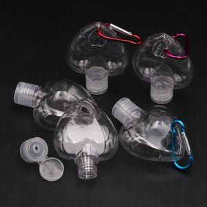 Heart a forma di cuore 50ml Bottiglia Gancio portatile Plastica Distributore Vuoto Anello Vuoto Bottiglia Tasto Viaggio Sanitizer Bottle Gancio portachiavi Portatore OWA2682