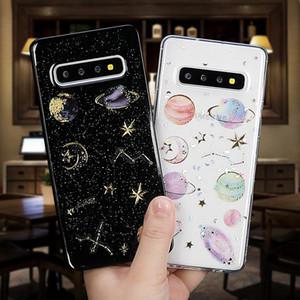Epoxy Phone Case For Samsung Galaxy Note 10 A10 A20 A30 A40 A50 A70 S10 A20E A10s Planet Star Transparent TPU Phone Back Cover