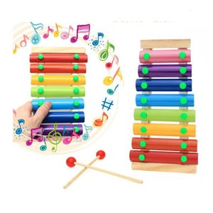 Baby's Wooden Musical Trailer 8-Note Xylophone Children Hand Knocking Piano Music Instrument Early childhood educational Toys