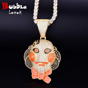 Cartoon Clown Face Necklace for Jewelry Gold Color Charm Material Copper Cubic Zircon Hip Hop Rock Street With Tennis Chain